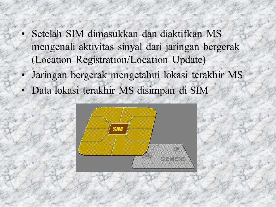 Setelah SIM dimasukkan dan diaktifkan MS mengenali aktivitas sinyal dari jaringan bergerak (Location Registration/Location Update)