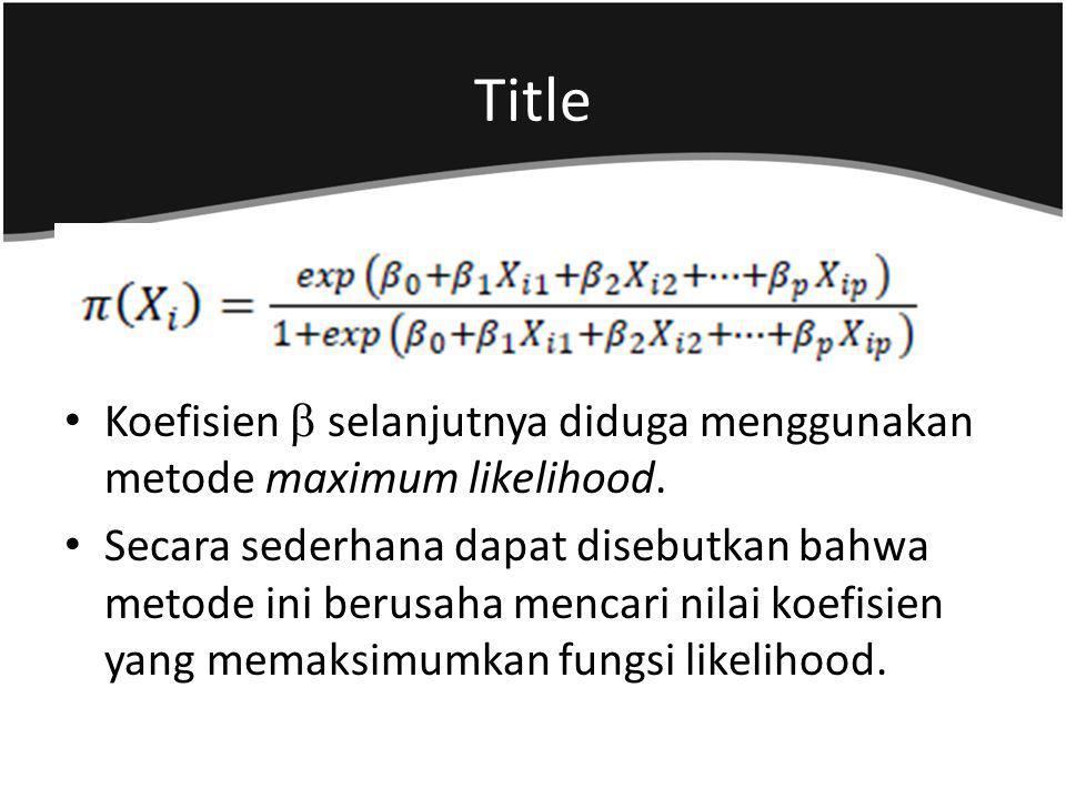 Title Koefisien  selanjutnya diduga menggunakan metode maximum likelihood.