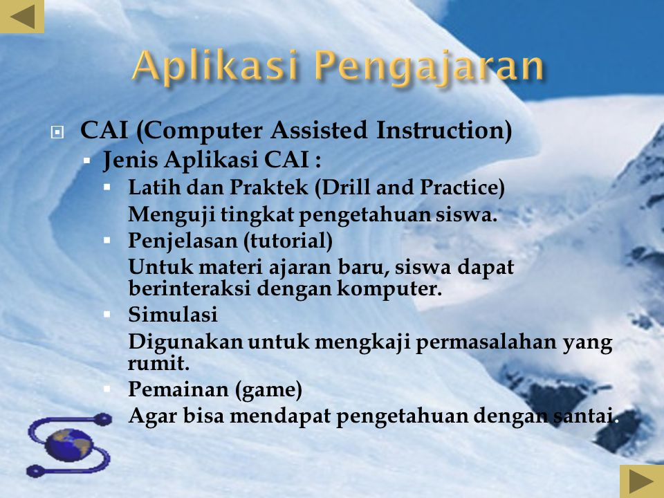 Aplikasi Pengajaran CAI (Computer Assisted Instruction)