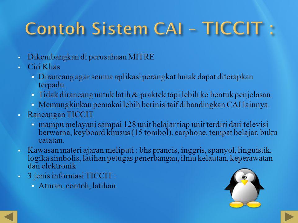 Contoh Sistem CAI – TICCIT :