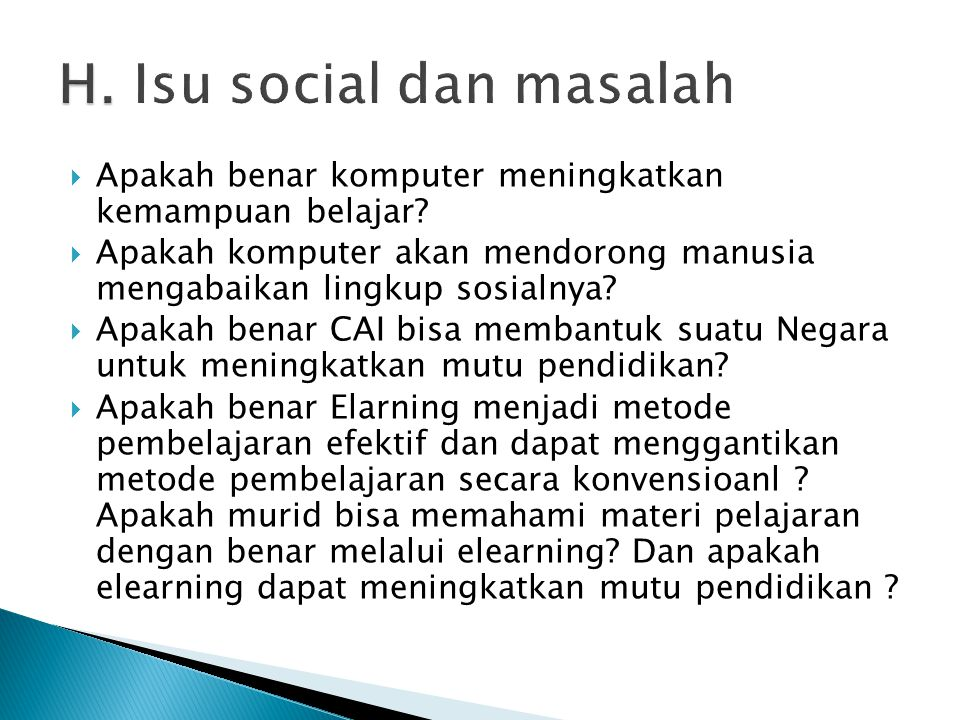 H. Isu social dan masalah