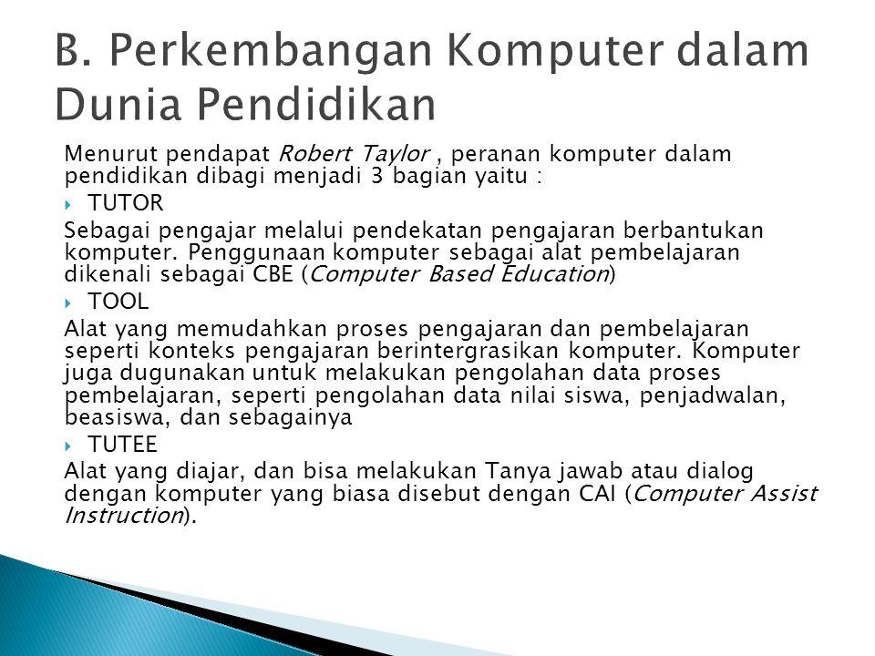 B. Perkembangan Komputer dalam Dunia Pendidikan