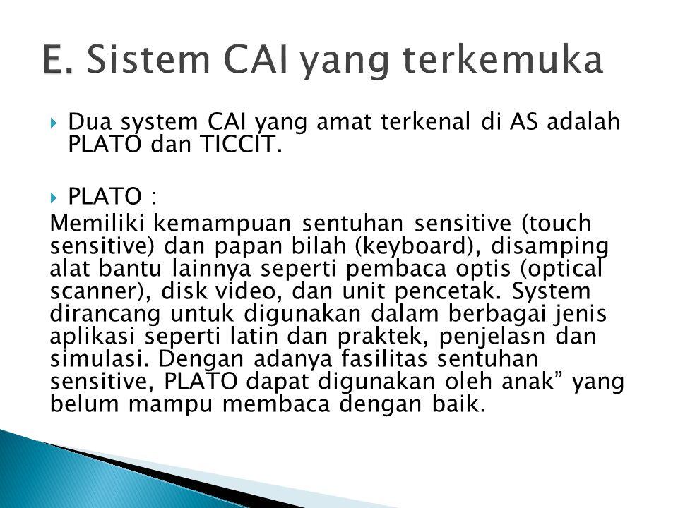 E. Sistem CAI yang terkemuka