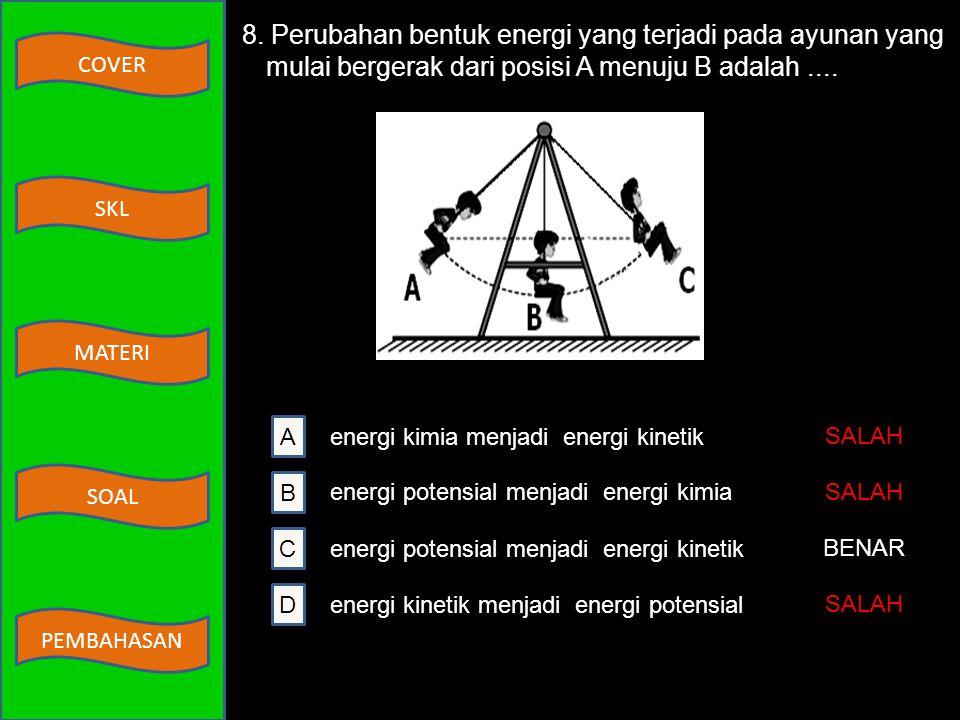 8. Perubahan bentuk energi yang terjadi pada ayunan yang mulai bergerak dari posisi A menuju B adalah ....