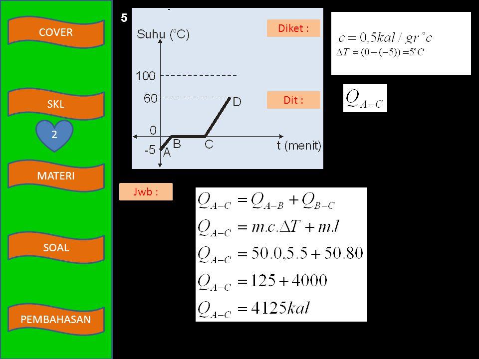 5 m = 50 gr l = 80 kal/gr Diket : Dit : 2 Jwb :