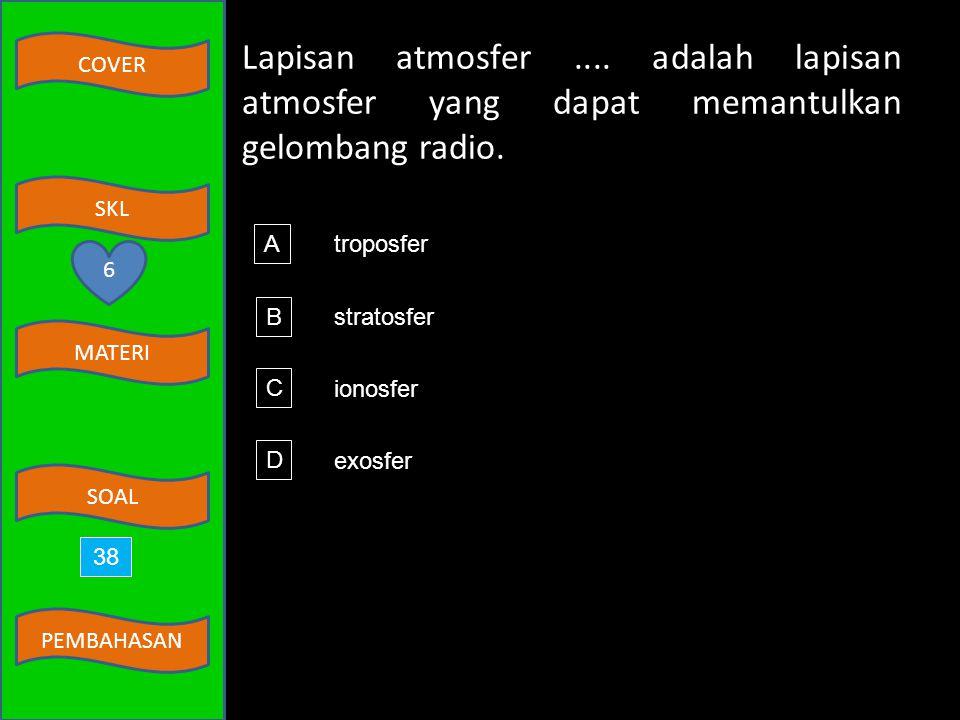 Lapisan atmosfer .... adalah lapisan atmosfer yang dapat memantulkan gelombang radio.