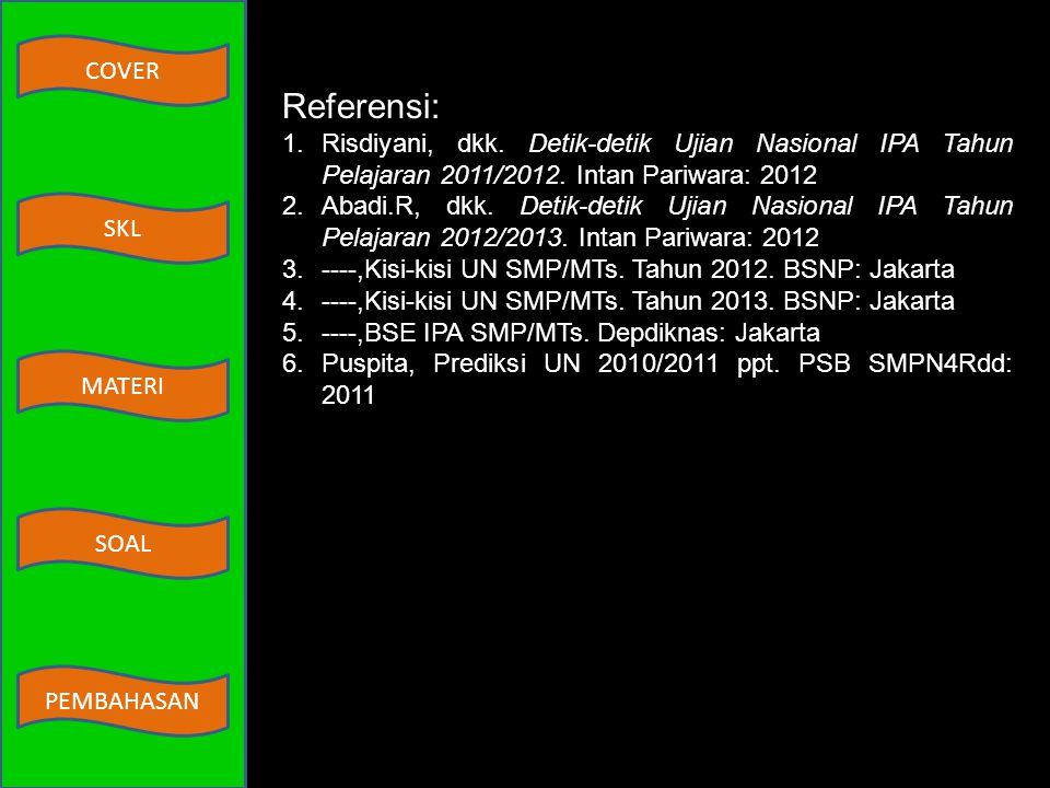 Referensi: Risdiyani, dkk. Detik-detik Ujian Nasional IPA Tahun Pelajaran 2011/2012. Intan Pariwara: 2012.