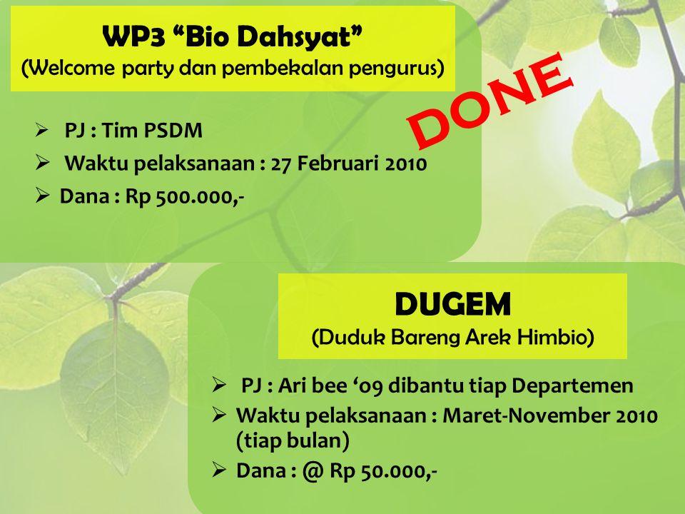 WP3 Bio Dahsyat (Welcome party dan pembekalan pengurus)