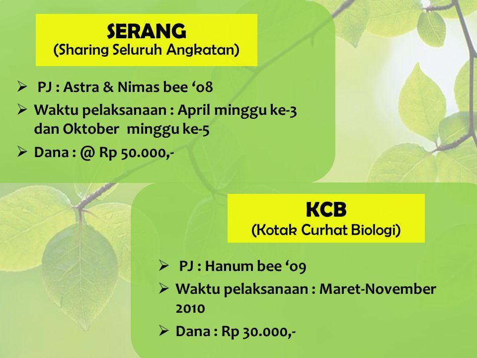 SERANG KCB (Sharing Seluruh Angkatan) PJ : Astra & Nimas bee 'o8