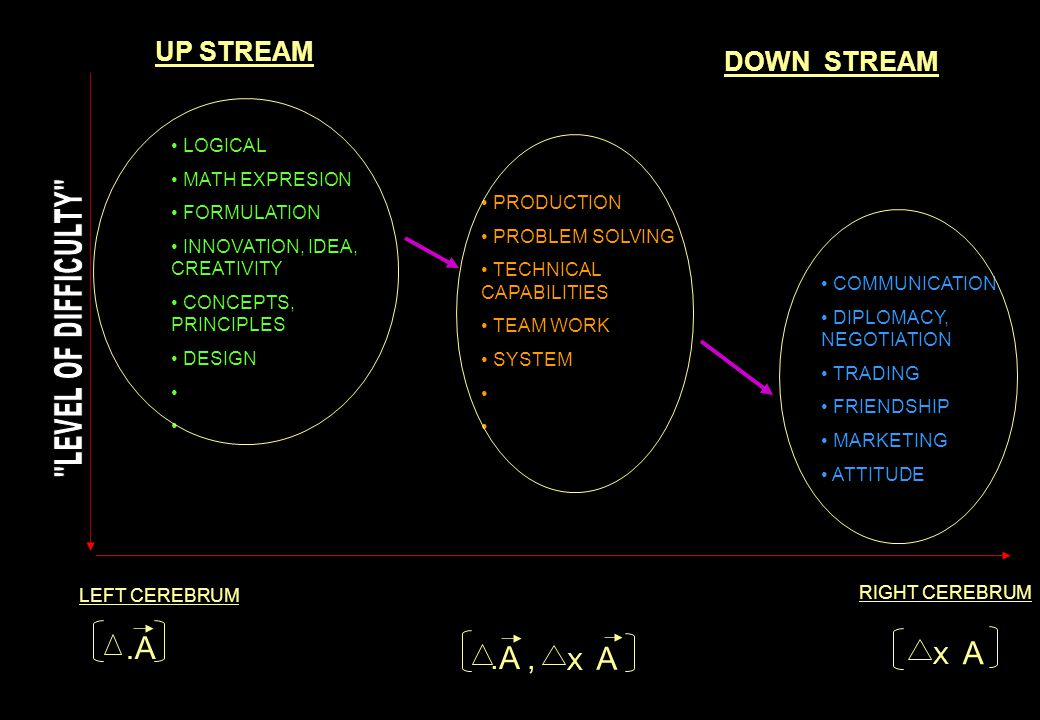 .A .A , UP STREAM DOWN STREAM LEVEL OF DIFFICULTY X A X A LOGICAL