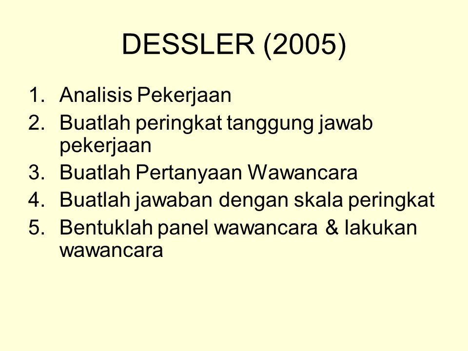 DESSLER (2005) Analisis Pekerjaan