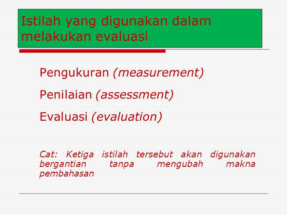 Istilah yang digunakan dalam melakukan evaluasi