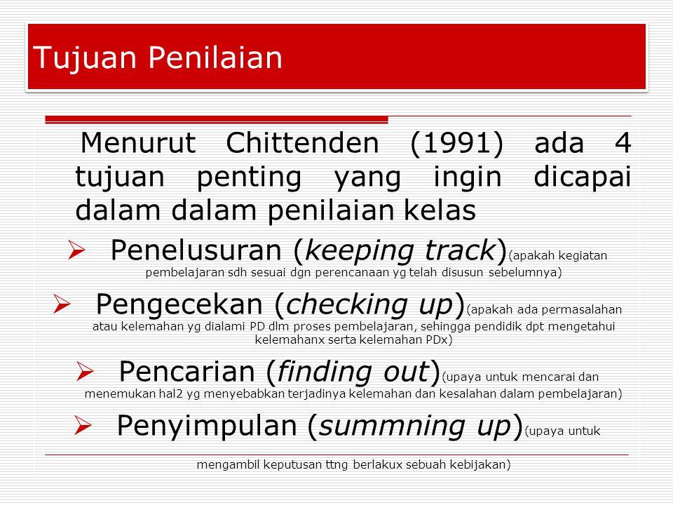 Tujuan Penilaian Menurut Chittenden (1991) ada 4 tujuan penting yang ingin dicapai dalam dalam penilaian kelas.