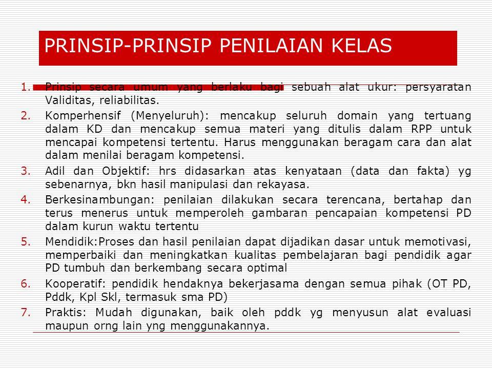 Prinsip-prinsip penilaian kelas