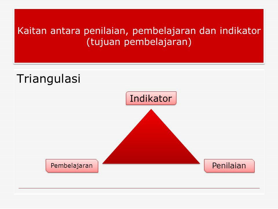 Kaitan antara penilaian, pembelajaran dan indikator (tujuan pembelajaran)