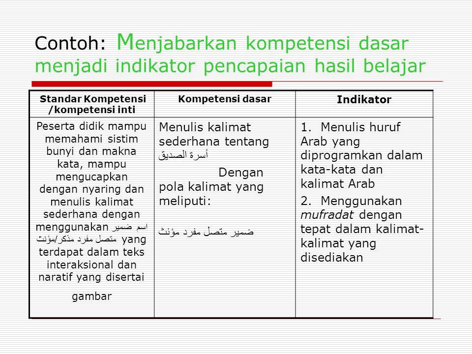 Standar Kompetensi /kompetensi inti