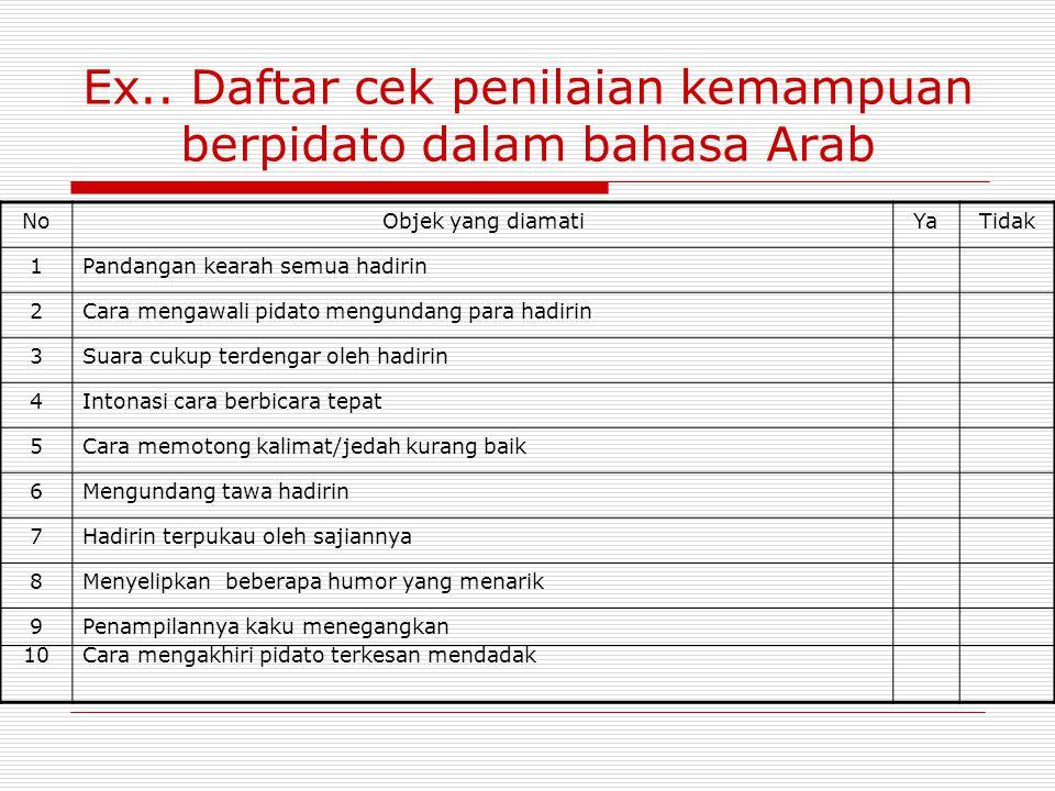 Ex.. Daftar cek penilaian kemampuan berpidato dalam bahasa Arab