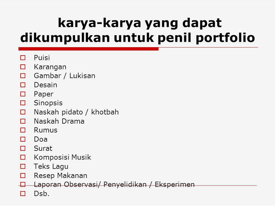 karya-karya yang dapat dikumpulkan untuk penil portfolio