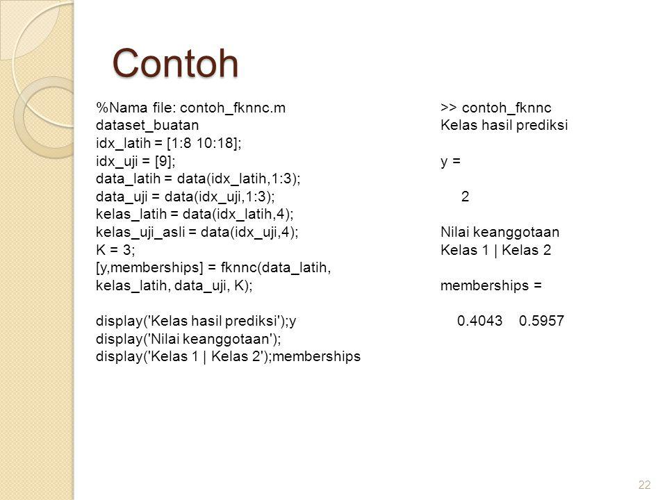 Contoh %Nama file: contoh_fknnc.m dataset_buatan