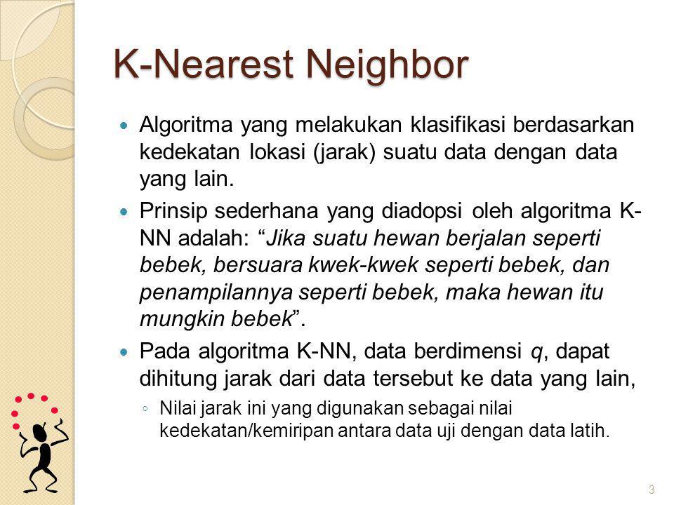 K-Nearest Neighbor Algoritma yang melakukan klasifikasi berdasarkan kedekatan lokasi (jarak) suatu data dengan data yang lain.