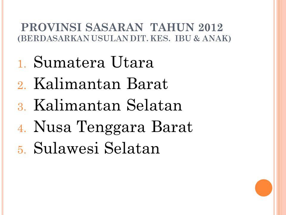 PROVINSI SASARAN TAHUN 2012 (BERDASARKAN USULAN DIT. KES. IBU & ANAK)