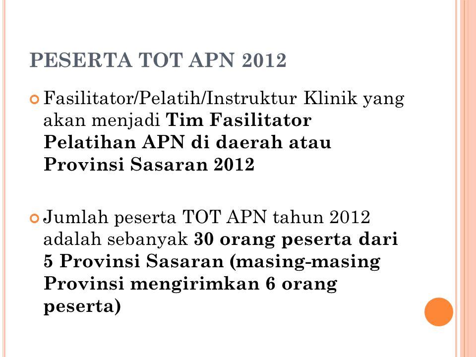 PESERTA TOT APN 2012 Fasilitator/Pelatih/Instruktur Klinik yang akan menjadi Tim Fasilitator Pelatihan APN di daerah atau Provinsi Sasaran 2012.