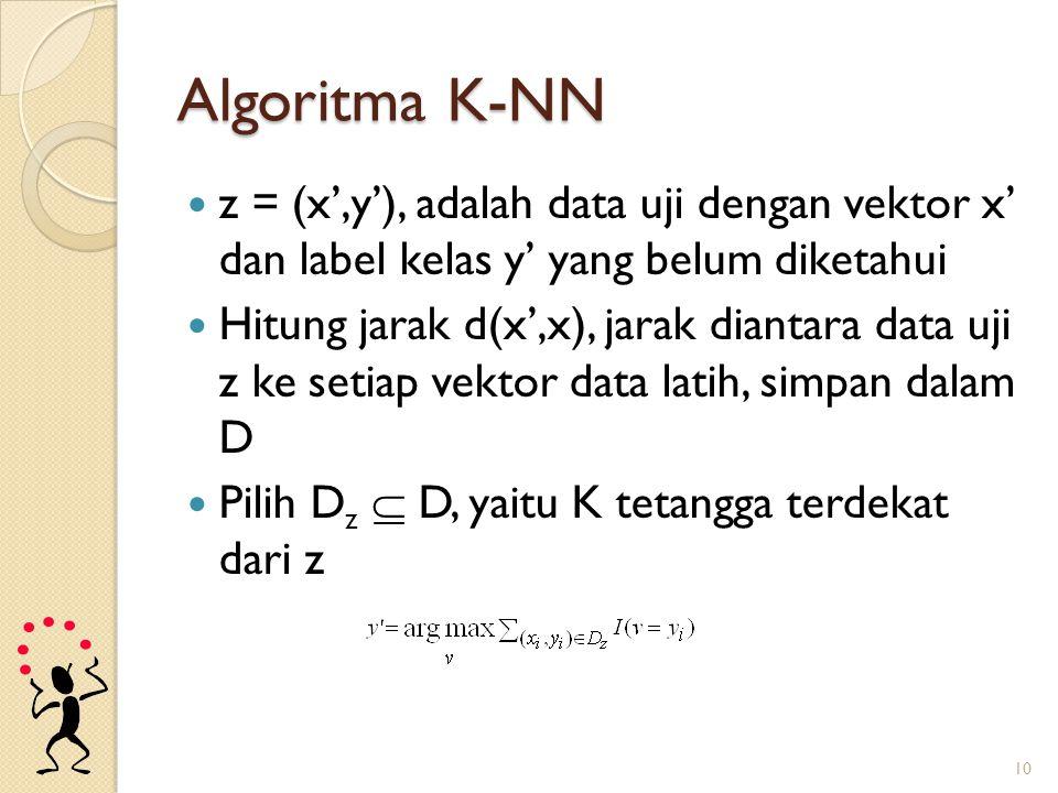 Algoritma K-NN z = (x',y'), adalah data uji dengan vektor x' dan label kelas y' yang belum diketahui.