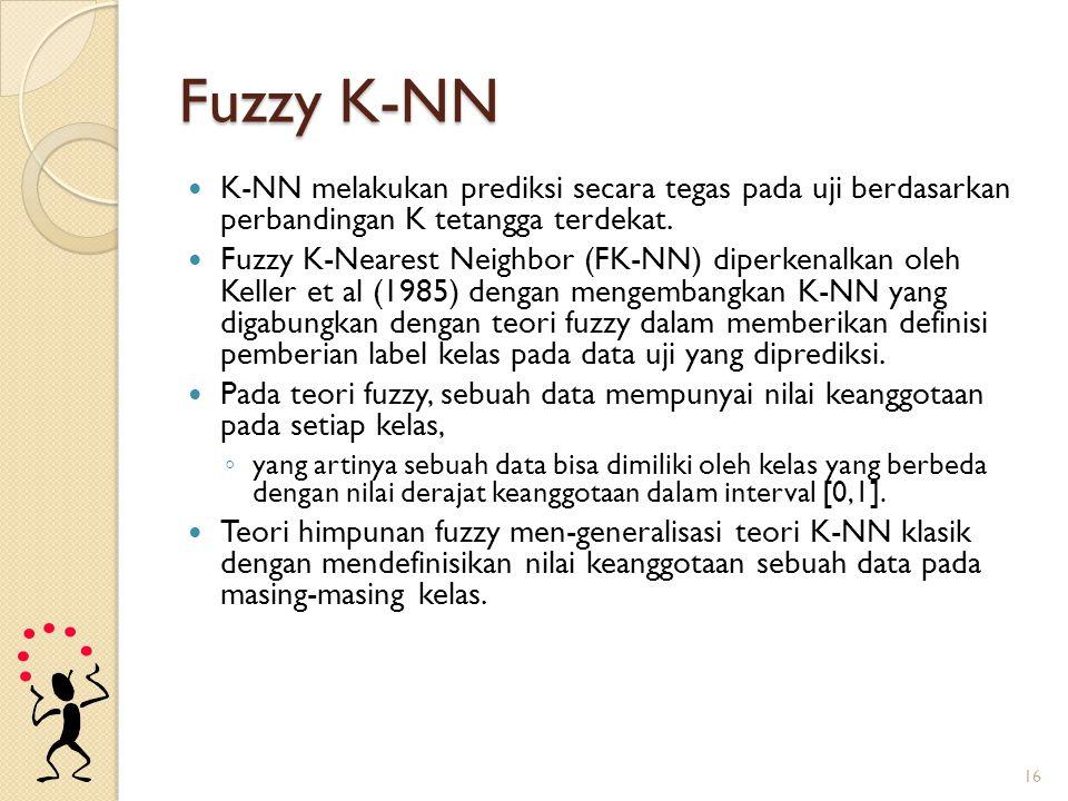 Fuzzy K-NN K-NN melakukan prediksi secara tegas pada uji berdasarkan perbandingan K tetangga terdekat.