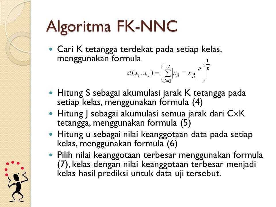 Algoritma FK-NNC Cari K tetangga terdekat pada setiap kelas, menggunakan formula.
