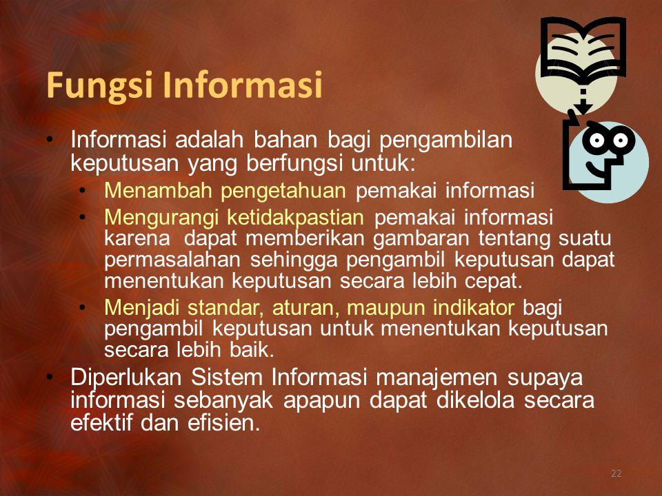 Fungsi Informasi Informasi adalah bahan bagi pengambilan keputusan yang berfungsi untuk: Menambah pengetahuan pemakai informasi.
