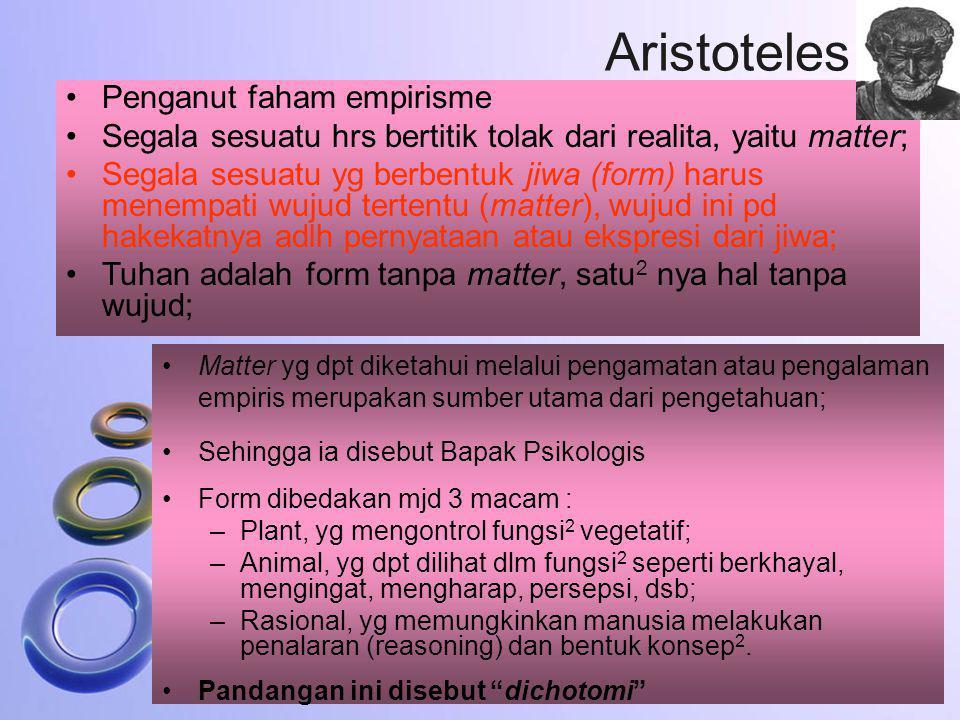 Aristoteles Penganut faham empirisme