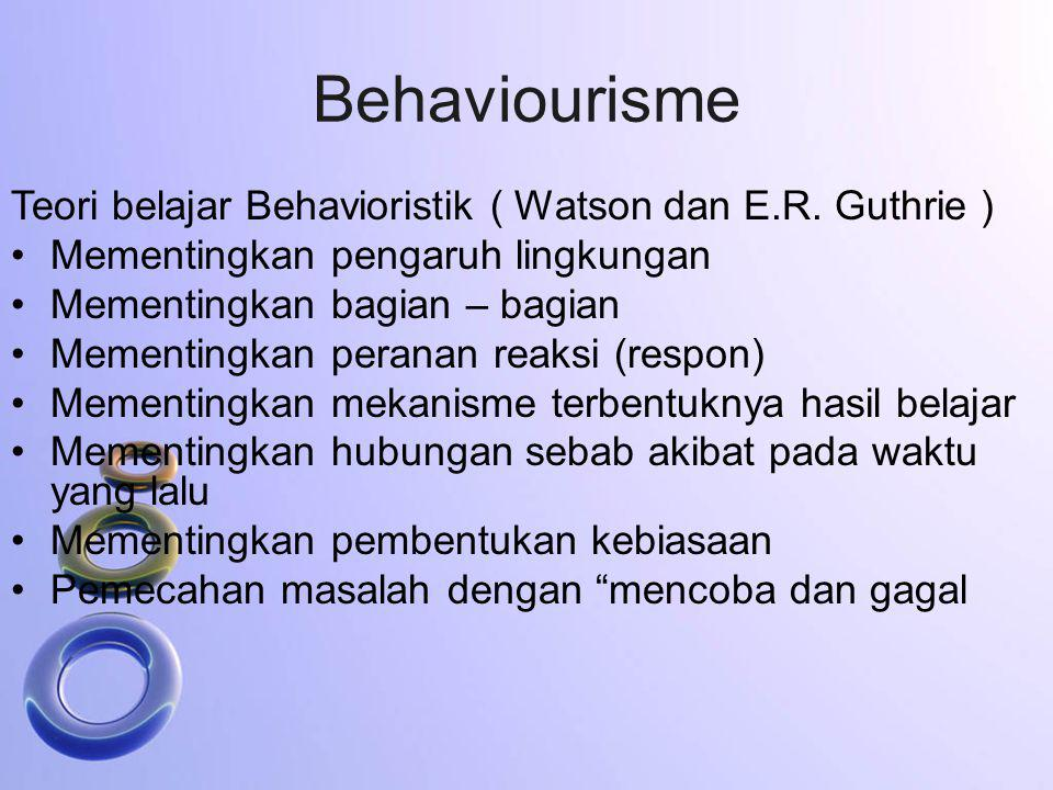 Behaviourisme Teori belajar Behavioristik ( Watson dan E.R. Guthrie )