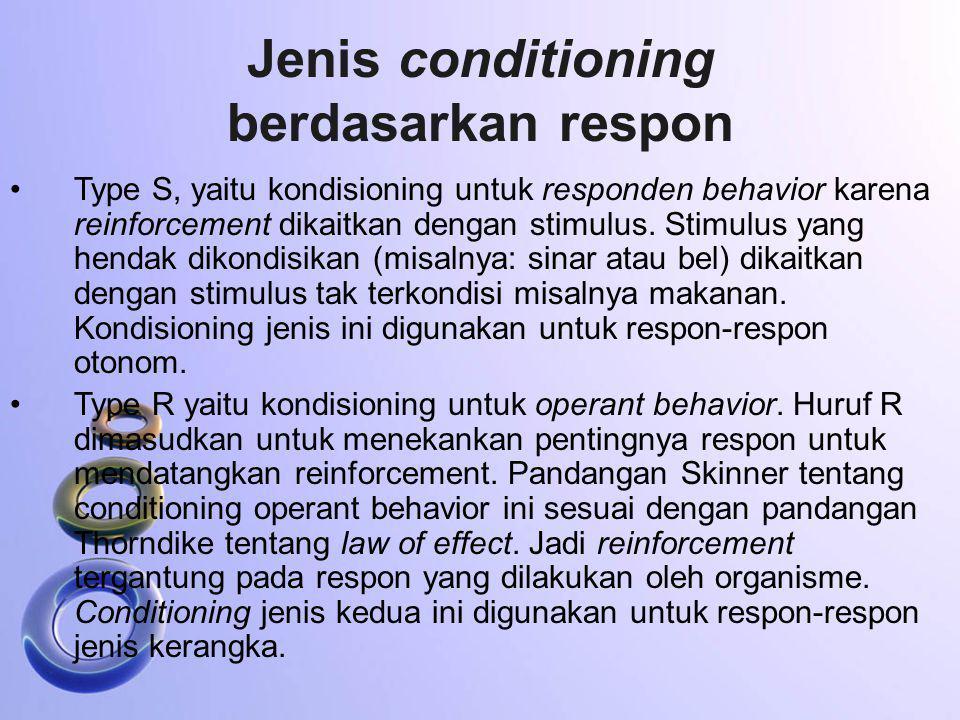 Jenis conditioning berdasarkan respon
