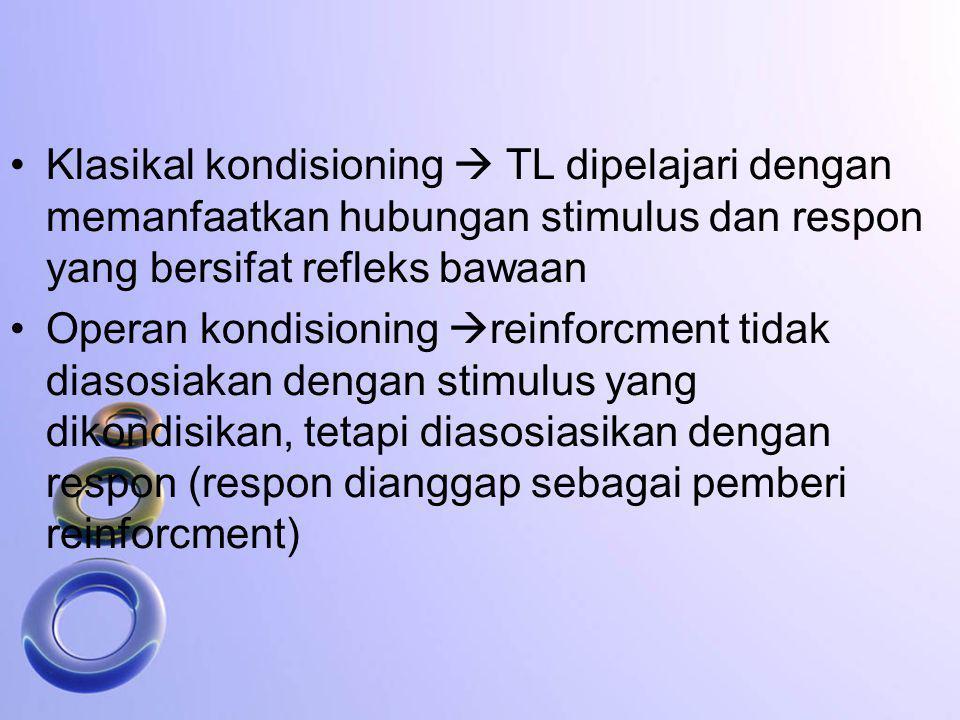Klasikal kondisioning  TL dipelajari dengan memanfaatkan hubungan stimulus dan respon yang bersifat refleks bawaan
