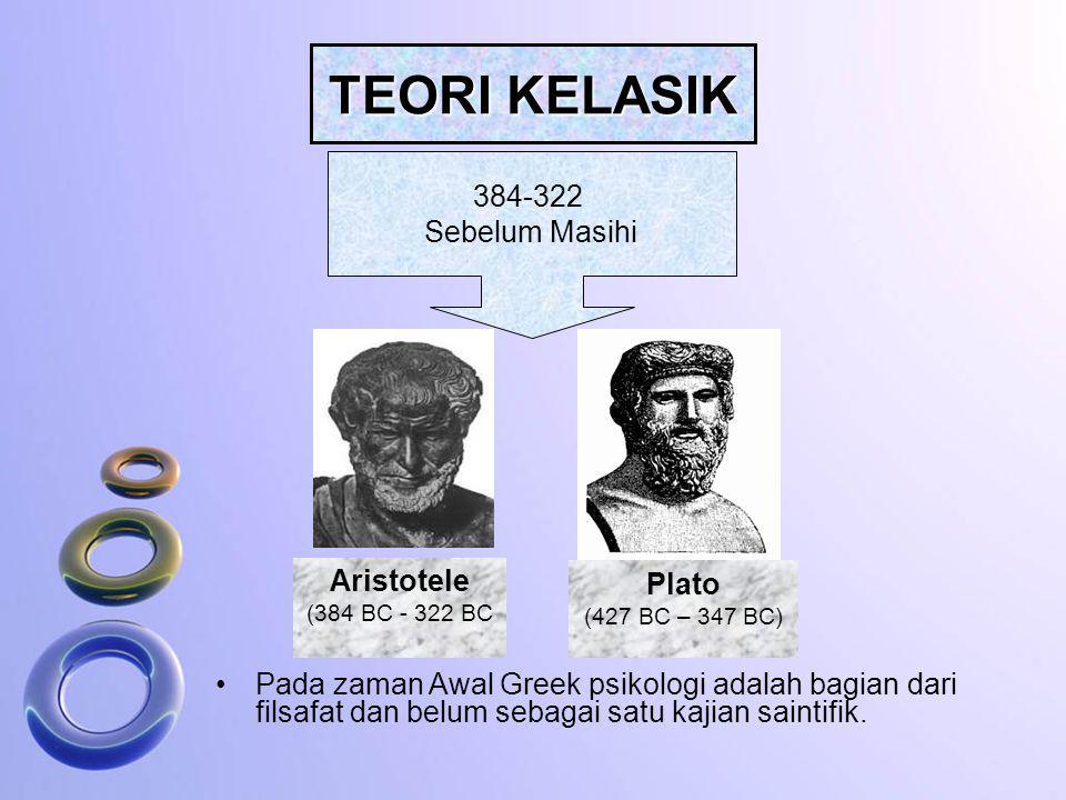 TEORI KELASIK 384-322 Sebelum Masihi Aristotele (384 BC - 322 BC Plato