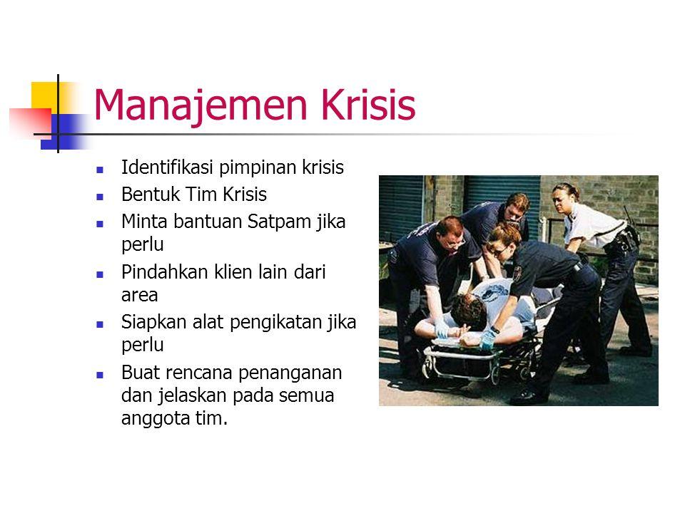 Manajemen Krisis Identifikasi pimpinan krisis Bentuk Tim Krisis
