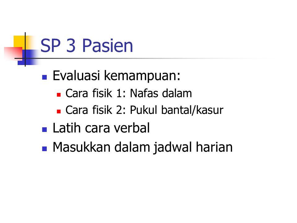 SP 3 Pasien Evaluasi kemampuan: Latih cara verbal