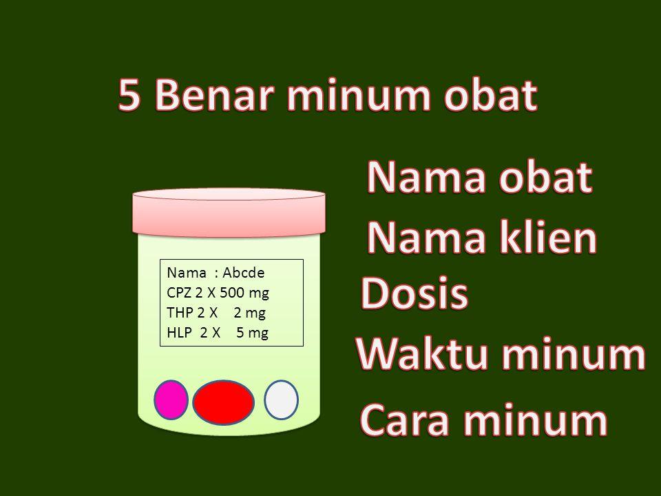 5 Benar minum obat Nama obat Nama klien Dosis Waktu minum Cara minum