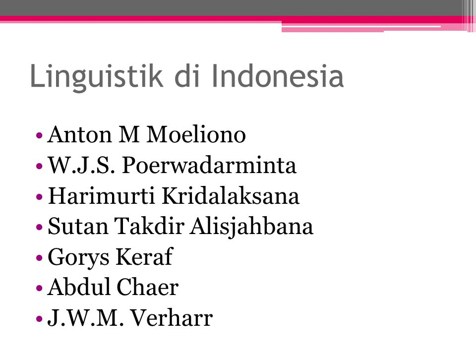 Linguistik di Indonesia