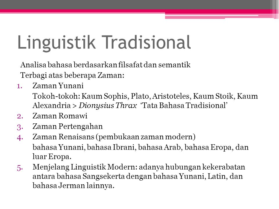 Linguistik Tradisional