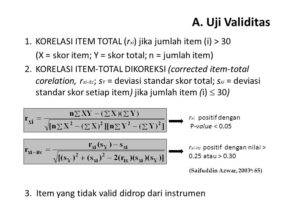 A. Uji Validitas KORELASI ITEM TOTAL (rxi) jika jumlah item (i) > 30. (X = skor item; Y = skor total; n = jumlah item)