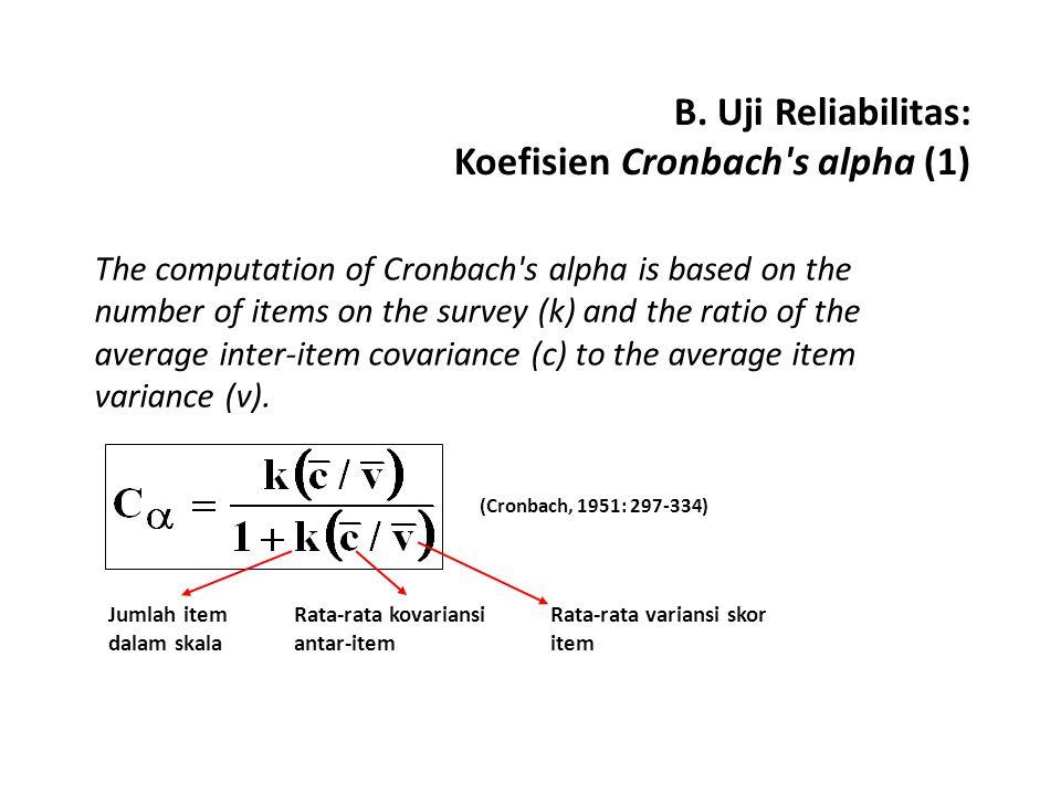 B. Uji Reliabilitas: Koefisien Cronbach s alpha (1)