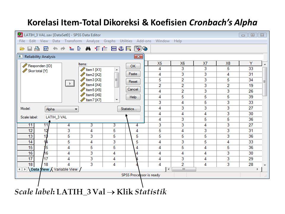 Korelasi Item-Total Dikoreksi & Koefisien Cronbach's Alpha