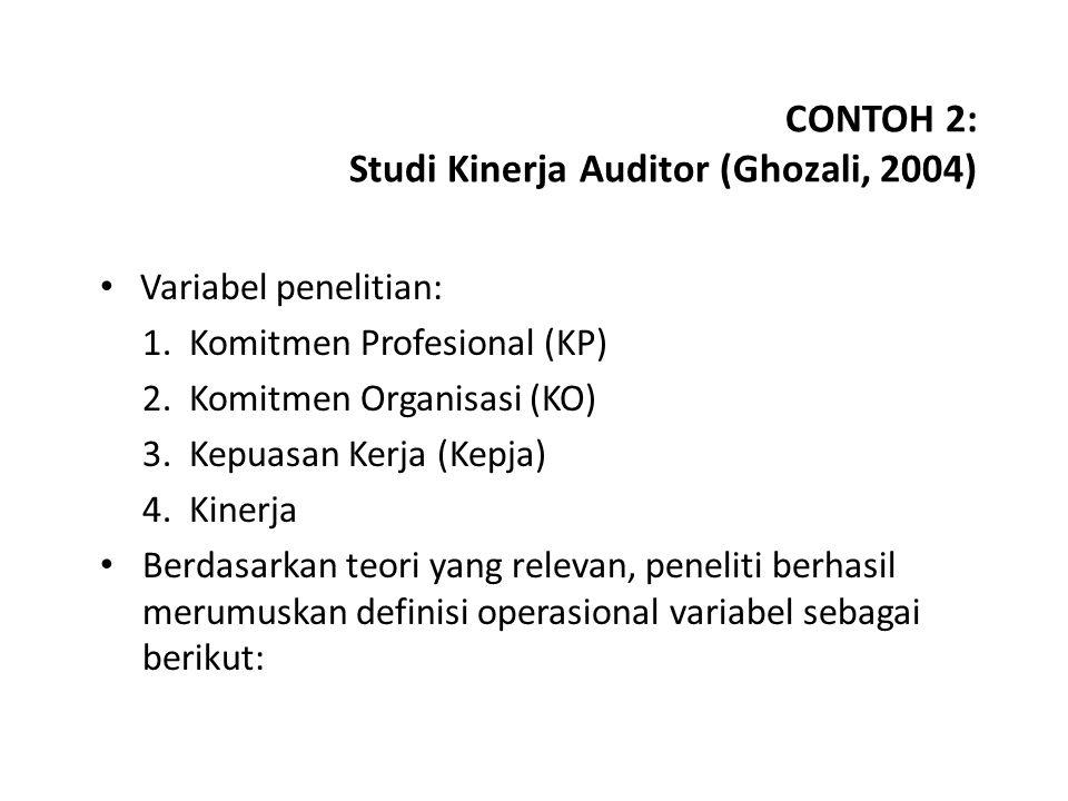 CONTOH 2: Studi Kinerja Auditor (Ghozali, 2004)