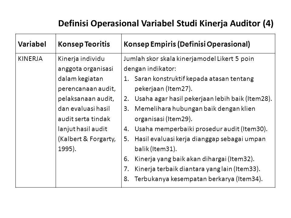 Definisi Operasional Variabel Studi Kinerja Auditor (4)