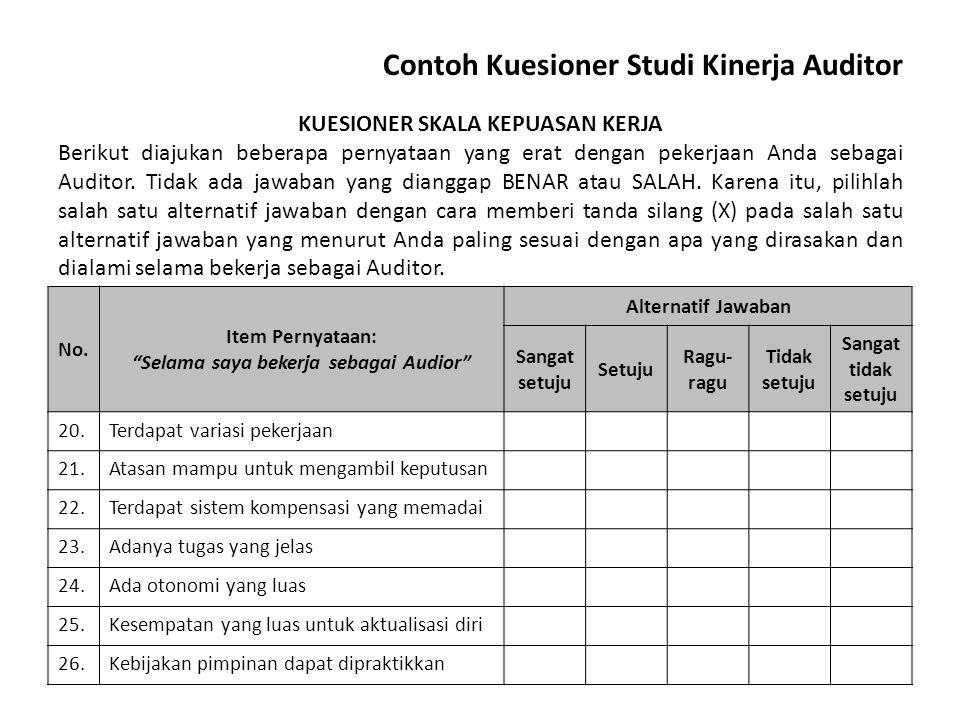 Contoh Kuesioner Studi Kinerja Auditor