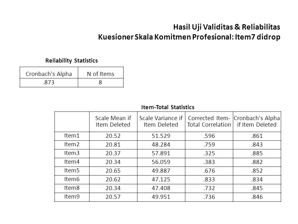 Reliability Statistics Item-Total Statistics