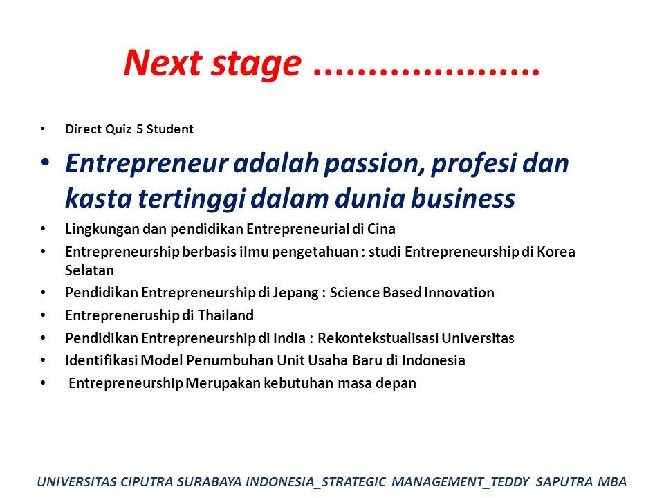 Next stage ..................... Direct Quiz 5 Student. Entrepreneur adalah passion, profesi dan kasta tertinggi dalam dunia business.