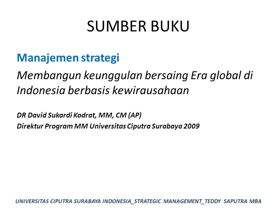 SUMBER BUKU Manajemen strategi