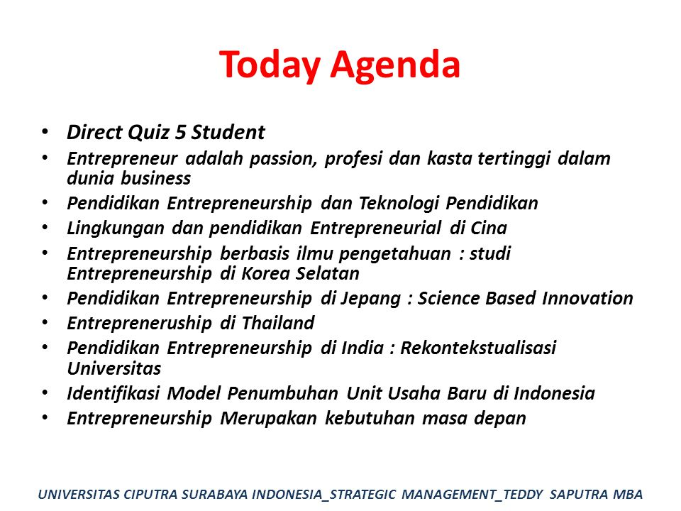 Today Agenda Direct Quiz 5 Student